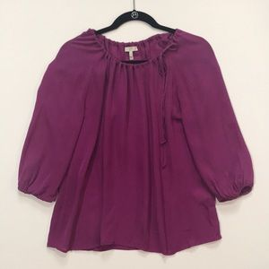 Joie silk fuchsia purple blouse tie at neck small